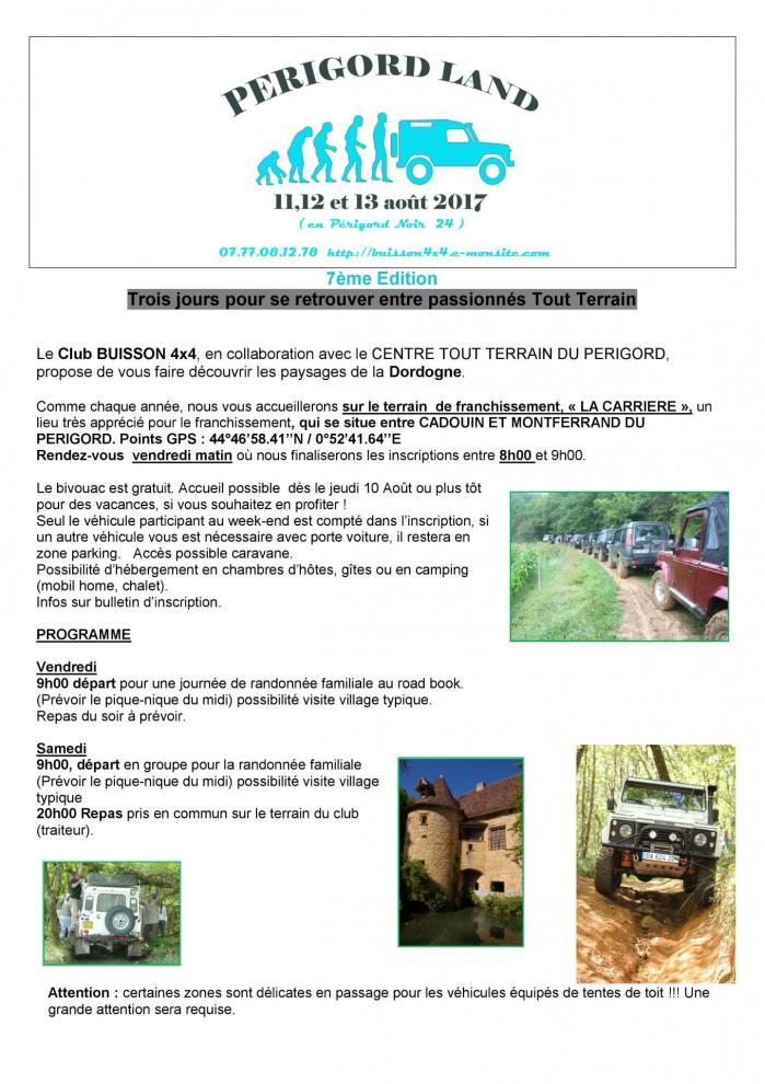Programme ERIGORDLAND 2017